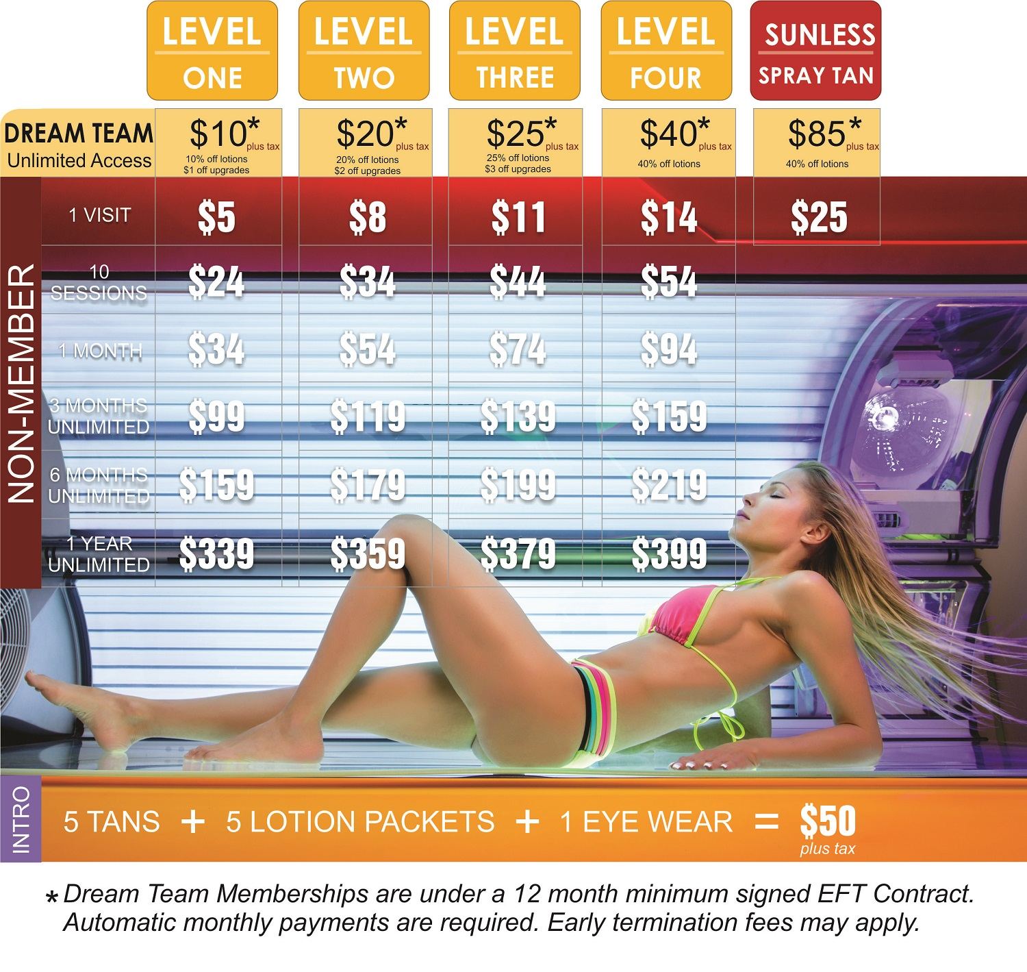 New pricing for tanning sessions, monthly, and dream team tanning!